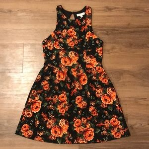 Red and Black Floral Mini Dress